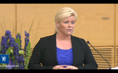 Finance Minister Siv Jensen of the Progress Party delivered her revised budget on Wednesday. It included spending an extra NOK 1.9 billion dollars of oil money, taking the 2014 budget to NOK billion. Opposition politicians were angry the government did not allocate more money for kindergarten placements, repeal unpopular lay-off reforms, or offer more aid to Syria and other war-torn countries. PHOTO: Regjeringen
