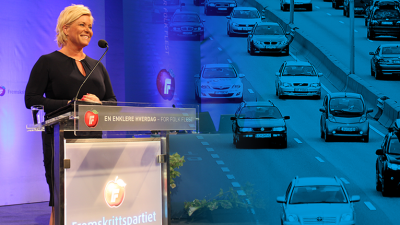 Progress Party (Fremskrittspartiet, FrP) leader Siv Jensen making her speech at the party's first national congress since forming government last year. Jensen announced reforms to road tolls, and criticized the immigration and integration legacy left by the former Labour (Arbeiderpartiet, Ap) coalition. PHOTO: Fremskrittspartiet