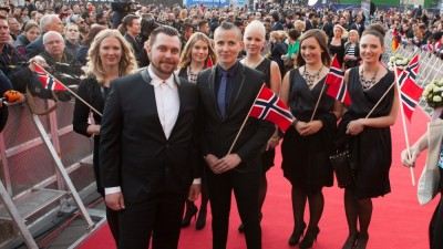 Singer Carl Espen and his songwriter cousin, Josefine Winther, flanked by the rest of the Norwegian delegation at the launch of the 2014 European Song Contest in Copenhagen. Espen performs in the second semi-final on Thursday. Norwegian Broadcasting (NRK) will broadcast the final on Saturday. PHOTO: Rikke Askersrud/NRK