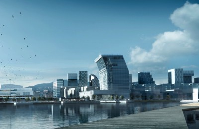 The new Munch Museum (center) will add to the high-rises on Oslo's eastern waterfront at Bjørvika. Construction is due to begin next year, with an opening in 2019. ILLUSTRATION: Estudio Herreros