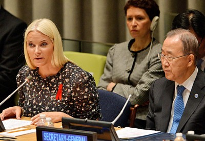 Norway's Crown Princess Mette-Marit sits beside UN Secretary General Ban Ki-moon at a high-level UN meeting in New York. Mette-Marit gave the keynote address in her role as a Goodwill Ambassador for the UNAIDS program, and became the first Norwegian royal to speak at the UN. PHOTO: Justin Lane/Det Norske Kongehus