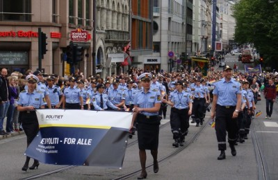 A large group of gay police officers marched in the parade, carrying a banner reading that they are a police force serving everyone in the community. PHOTO: newsinenglish.no/Nina Berglund