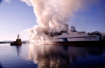 The ferry 'Scandinavian Star' caught fire while sailing from Oslo to Fredrikshavn in early April 1990. It was the vessel's maiden voyage and survivors have never been satisfied with the police investigation into the blaze. PHOTO: Tor Arne Dalsnes/SCANPIX
