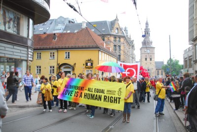 This year's message at EuroPride in Oslo will be much the same as when Oslo Pride held its own annual march through the city two years ago, that sexual orientation and love is a human right. PHOTO: EuroPride/Oslo Pride