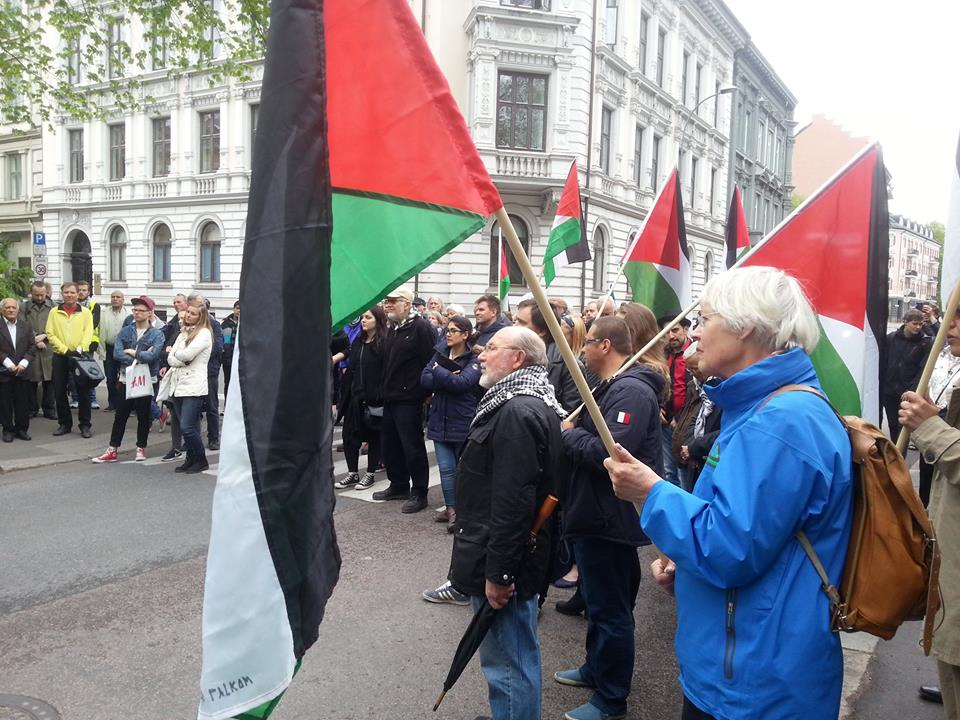 Palestinian supporters at a rally in May. On Tuesday pro-Palestinian groups urged Norway to expel the Israeli ambassador and implement sanctions against Israel. Foreign Minister Børge Brende dismissed the calls as non-constructive. PHOTO: Fellesutvalget for Palestina (FuP)