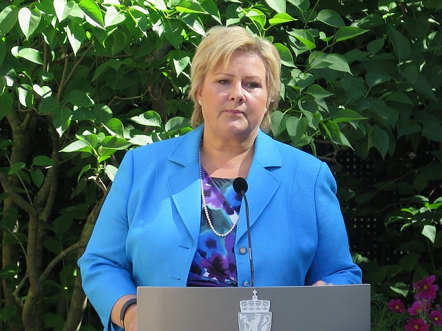 Prime Minister Erna Solberg expressed her condolences to the families and friends of those killed when Malaysian Airlines flight MH17 was shot down over east Ukraine on Thursday evening. No Norwegians were believed to be on board. PHOTO: Statministerenskontor