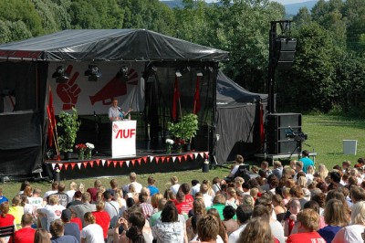 Jonas Gahr Støre was making his first speech as Labour's new leader at the party's AUF summer camp over the weekend. PHOTO: Arbeiderpartiet
