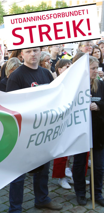 Norway's biggest teachers' union, Utdanningsforbundet, announced plans Wednesday to call another 5,500 teachers off the job starting next week. There later were signs that they may, however, be heading back to the bargaining table. PHOTO: Utdanningsforbundet