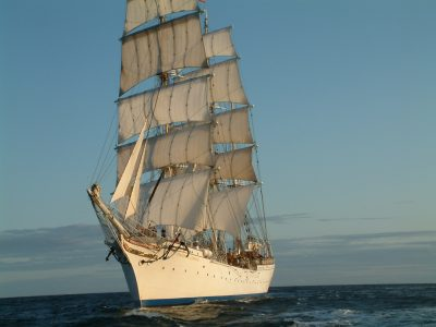 The Bergen-based Statsraad Lehmkuhl, under full sail during when the Tall Ships Races came to Fredrikstad. PHOTO: The Tall Ships Races Fredrikstad