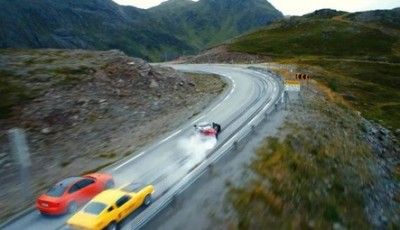"""""""Børning,"""" as in """"burning (rubber)"""" is the first new Norwegian film to debut this fall and it may surprise the critics. The film, based on a wild car race from Oslo to the North Cape, did well at the box office on its opening weekend. PHOTO: Filmweb"""