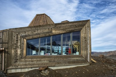 """The new """"hytte,"""" which will be officially opened on Saturday, is built of local materials with windows designed to withstand hurricane-force winds. PHOTO: Hemnes Turisforening"""