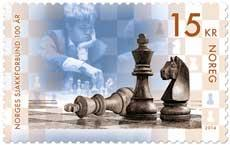 The new Norwegian postage stamp featuring Carlsen and chess can't be used alone on a international air-mail card or letter. That costs NOK 16 (the equivalent of USD 2.60) PHOTO: Posten Norge