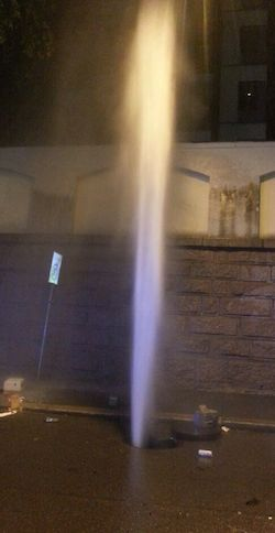 This is what met police and officials for Oslo utility firm Hafslund in the middle of the night. Vandals who set off the geyser caused a loss of hot water and heating for around 26,000 homes and businesses downtown. PHOTO: Hafslund