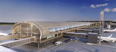 A new passenger pier at Oslo's main airport is due to open along with other expanded facilities in 2017. The project aims to increase airport capacity from the 23 million who passed through OSL last year to 28 million. ILLUSTRATION: Nordic-Office of Architecture