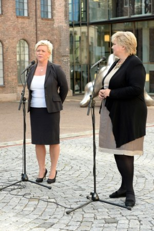 Finance Minister Siv Jensen (left) is under pressure to produce a state budget that satisfies her own party and the government support parties. Prime Minister Erna Solberg (right) was confident they'll meet their promises when they present their first state budget in October. PHOTO: NTB Scanpix/Vidar Ruud