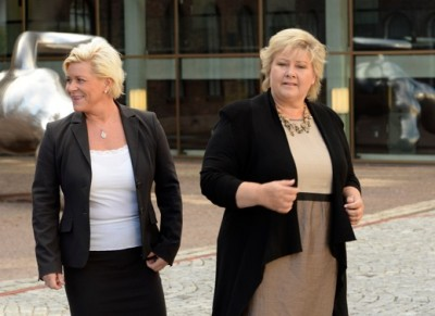 Prime Minister Erna Solberg (right) and Finance Minister Siv Jensen face tough weeks ahead, as they battle not only with the opposition over their proposed state budget, but also with their own support parties. PHOTO: NTB Scanpix