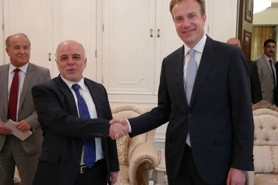 Norwegian Foreign Minister Børge Brende was in Iraq recently and met with the new Iraqi prime minister, Haidar al-Abadi. PHOTO: Utenriksdepartementet/Astrid Versto