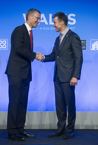 Jens Stoltenberg, Norway's former and highly popular prime minister, was formally introduced as NATO's next secretary general on Friday. Here he shakes hands with outgoing NATO chief Anders Fogh Rasmussen at the NATO Summit in Wales Friday afternoon. PHOTO: NATO