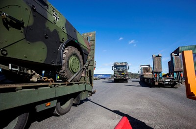 Military equipment from NATO allies was literally rolling into Norway this week, here at Brevik near Porsgrunn, for a major NATO Response Force exercise this month. PHOTO: Forsvaret