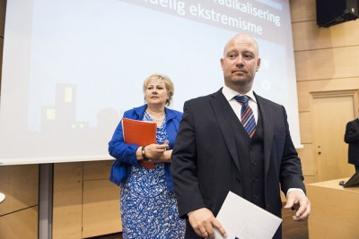 Justice Minister Anders Anundsen (right) is under fire and calls are rising for Prime Minister Erna Solberg (left) to replace him. PHOTO: Justisdepartementet