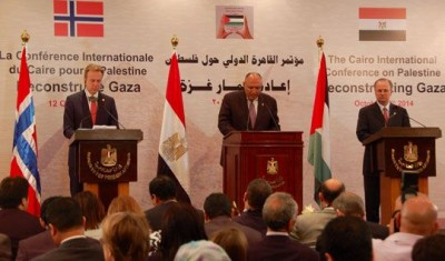 Norwegian Foreign Minister Børge Brende (left) after co-leading The Cairo International Conference on Palestine: Reconstructing Gaza, with the Egyptian Foreign Minister Sameh Shoukry (center) and Deputy Prime Minister of Palestine, Mohammed Mustafa. PHOTO: Utenriksdepartementet