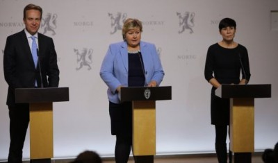 Foreign Minister Børge Brende, Prime Minister Erna Solberg and Defense Ministerr Ine Eriksen Søreide presenting the government's plan for a military contribution to the fight against extremism in Iraq and Afganistan. PHOTO: Forsvarsdepartementet