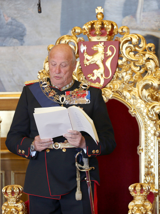 King Harald V read the government's speech standing as he formally opened Parliament on Thursday. PHOTO: kongehuset.no/Scanpix