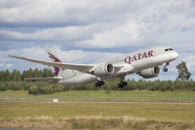 Qatar Airways, shown here taking off from Oslo's main airport at Gardermoen, should be banned from serving Norway because its working conditions violate human rights, claims Norwegian labour union Parat. PHOTO Oslo Lufthavn AS/Espen Solli