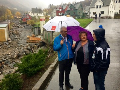 The prime minister tried to comfort but her government faces huge challenges from the effects of climate change on Norway. PHOTO: Statsministerens kontor