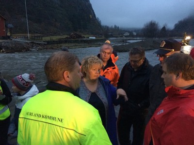 Prime Minister Erna Solberg visited several communities devastated by flooding last week. She had no concrete promises of speedy financial assistance, however. PHOTO: Statsministerens kontor