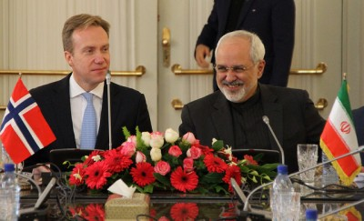 Norwegian Foreign Minister Børge Brende (left)  meeting with his Iranian counterpart Mohammad Javad Zarif in Iran over the weekend. PHOTO: Utenriksdepartementet / Frode O Andersen