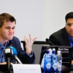 Norwegian chess champ Magnus Carlsen (left) was pleased with his performance on Sunday, after beating challenger Vishy Anand (right). PHOTO: NTB Scanpix/Dan P Neegaard