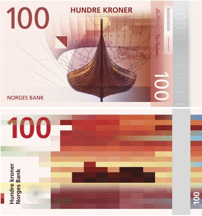 """Norway's new 100-kroner note, like others in its series, will combine a tradition illustration of maritime-related subjects on one side and a modern """"pixel design"""" on the other. PHOTO: Norges Bank"""