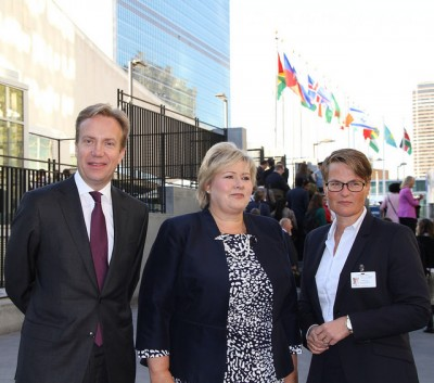 Foreign Minister Børge Brende, Prime Minister Erna Solberg and Environment Minister Tine Sundtoft have pledged more money to fight climate change, and hope it will help secure a new global climate agreement at the next UN climate summit in Paris next year. They're shown here at the UN in New York earlier this autumn. PHOTO: Utenriksdepartement/Veslemøy Lothe Salvesen