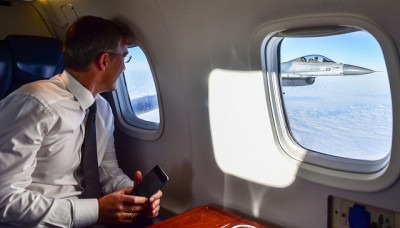 Jens Stoltenberg now has fighter jet escorts, from the Netherlands in this case, when he travels as secretary general of NATO. He recently visited the Baltic countries, and could wave at the fighter jet pilots as he flew into Estonia. PHOTO: NATO
