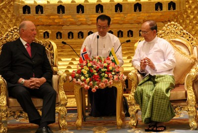 """King Harald and Queen Sonja were invited to Myanmar by its president, Thein Sein, who visited Norway earlier this year. One critic said the authorities in Myanmar are """"too ashamed"""" of local poverty to let important foreign visitors see it. PHOTO: Utenriksdepartementet"""