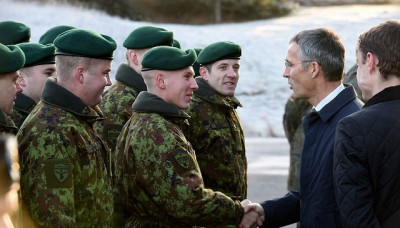 Stoltenberg greeted troops in Estonia while on a recent visit to the Baltic countries that all were once under the rule of the Soviet Union. Now they're all members of NATO. PHOTO: NATO