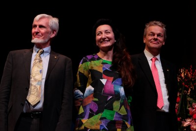 John O'Keefe (left), a British-American neuroscientist, and Norwegians May-Britt and Edvard Moser are sharing this year's Nobel Prize in medicine or physiology. They're in Stockholm this week for several days of formal Nobel events and ceremonies. PHOTO: NTNU/Gunnar K Hansen