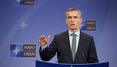 Jens Stoltenberg is mostly seen in this mode, speaking and being the leader of NATO in arguably the most challenging times in decades. After a year in the job, though, Stoltenberg seems to have few if any regrets that he took on the job. PHOTO: NATO