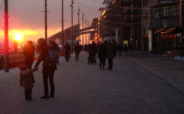Aker Brygge sunset, New Year's Eve 2014