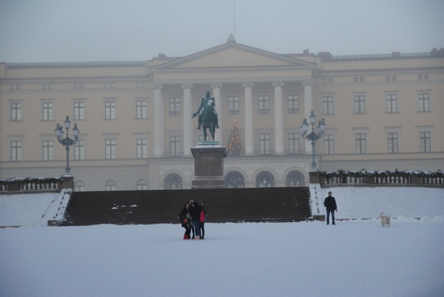 Royal Palace in winter fog