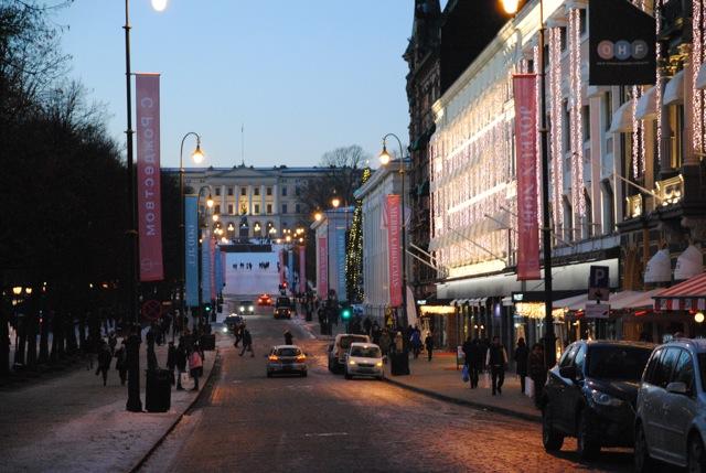 Karl Johans Gate at Christmastime