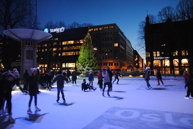 Ice skating on Karl Johans Gate