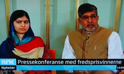Norwegian Broadcasting (NRK) carried the press conference with the two Nobel Peace Prize winners live on national TV Tuesday afternoon. PHOTO: NRK screen grab/newsinenglish.no