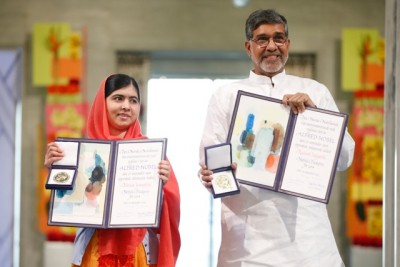 Malala Yousafzai (left) and Kailash Satyarthi were jointly awarded the Nobel Peace Prize for 2014 in the Oslo City Hall on Wednesday. PHOTO: NTB Scanpix/Cornelius Poppe