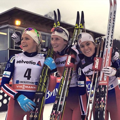 "Norway's Marit Bjørgen (center) once again led the pack of skiers in the weekend opening of the Tour de Ski in Oberstdorf, with fellow Norwegians Heidi Weng and Therese Johaug placing second and third on Sunday. Weng and Ragnhild Haga placed second and third at Saturday's opener behind Bjørgen, who put on what commentators called a show of force and thanked support staff for providing her with ""super skis."" PHOTO: International Ski Federation/FIS Tour de Ski"