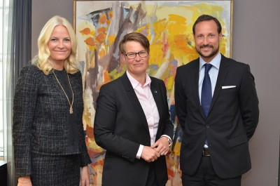 Crown Prince Haakon and Crown Princess Mette-Marit posed with Norway's environment minister Tine Sundtoft earlier this year. The couple has been under fire over how they balance their public and private roles. The crown prince later admitted that his family's holiday on board a luxury yacht in the Mediterranean didn't set a good environmental example. It also occurred while refugees were drowning in the Mediterranean during efforts to reach Europe. PHOTO: Klima- og Miljødepartementet/Camilla Pettersen