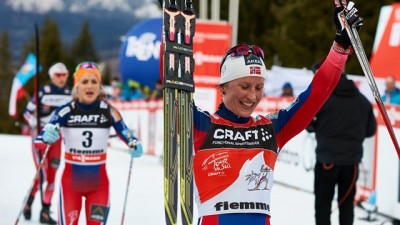 Ski queen Marit Bjørgen led the winning Norwegians over the finish line at the Tour de Ski on Sunday, finally claiming the only victory that had eluded her. PHOTO: International Ski Federation