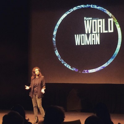 Deeyah Khan on stage at the World Woman conference she organized in Oslo on Friday. PHOTO: Twitter