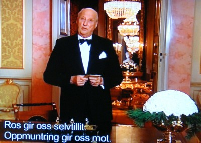 """""""Praise give us self-confidence, encouragement gives us courage,"""" King Harald said while delivering his annual address to the nation on New Year's Eve on state broadcaster NRK. PHOTO: NRK screen grab/newsinenglish.no"""